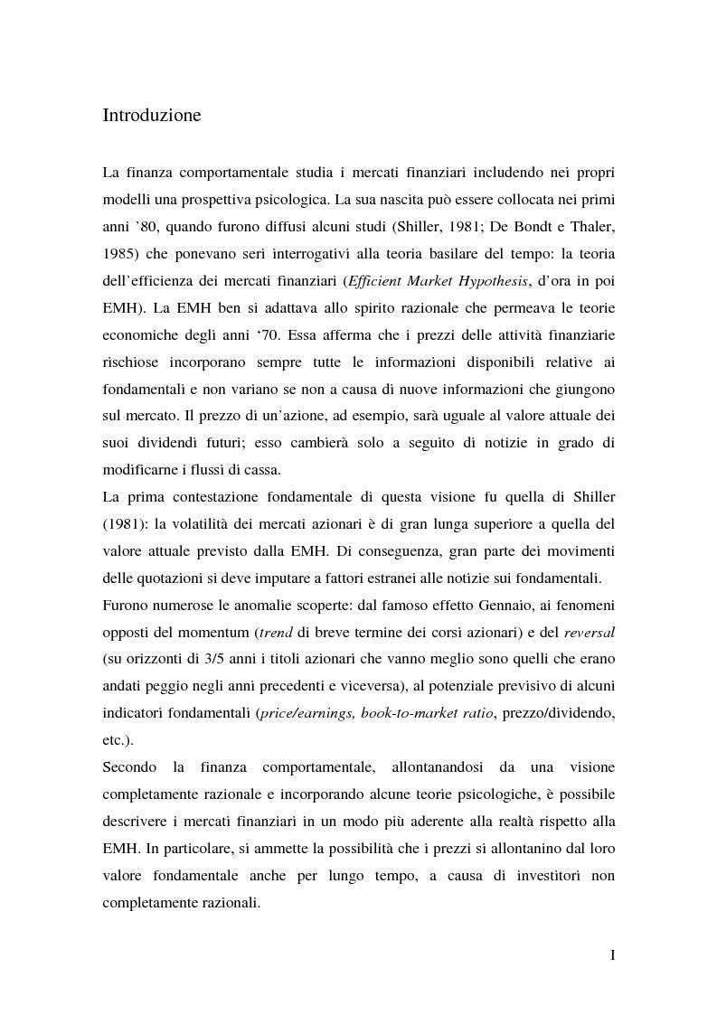 Anteprima della tesi: Finanza comportamentale ed efficienza dei mercati finanziari, Pagina 1