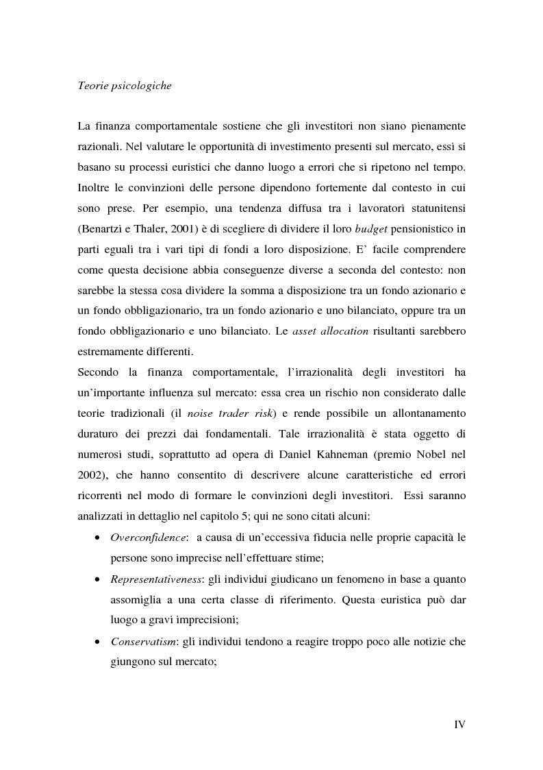 Anteprima della tesi: Finanza comportamentale ed efficienza dei mercati finanziari, Pagina 4