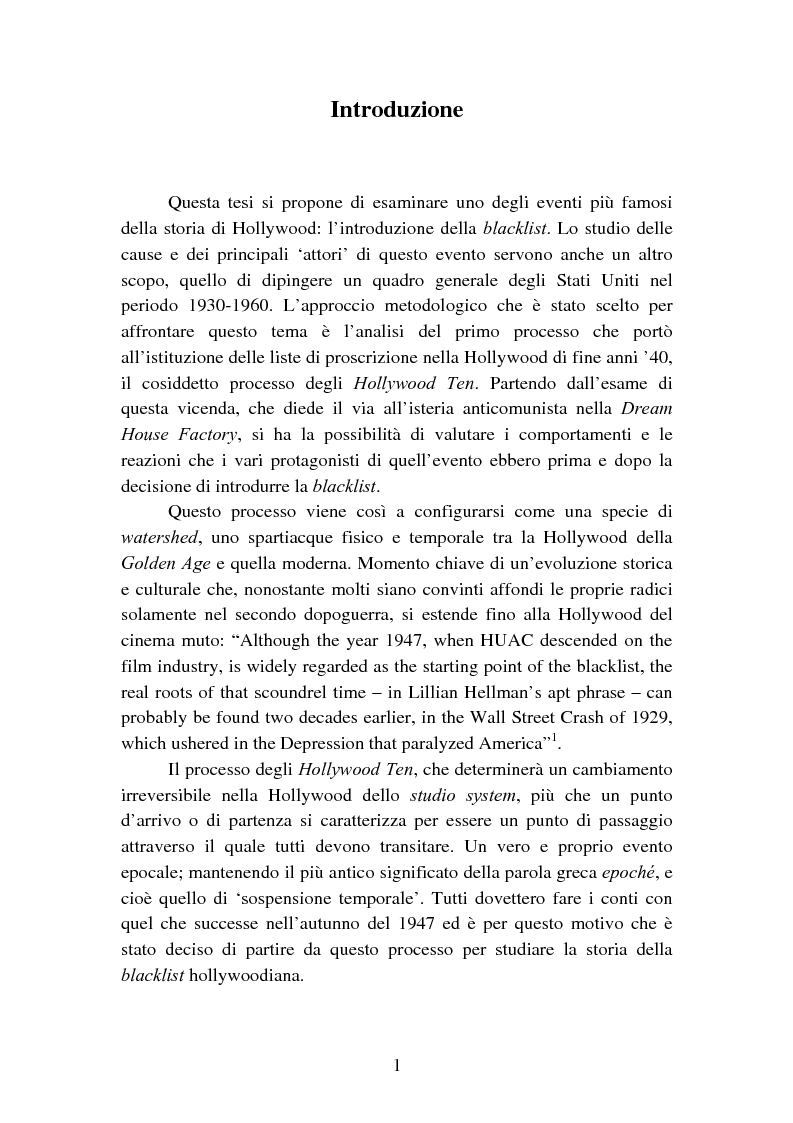Anteprima della tesi: Il processo degli Hollywood Ten: l'Inizio della witch-hunt e della blacklist a Hollywood, Pagina 1