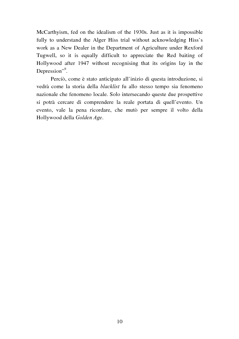 Anteprima della tesi: Il processo degli Hollywood Ten: l'Inizio della witch-hunt e della blacklist a Hollywood, Pagina 10