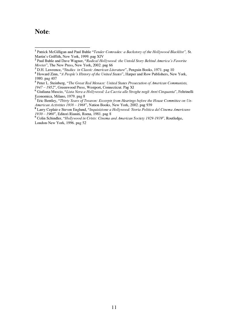 Anteprima della tesi: Il processo degli Hollywood Ten: l'Inizio della witch-hunt e della blacklist a Hollywood, Pagina 11