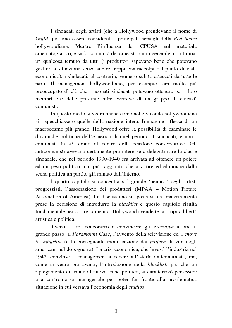 Anteprima della tesi: Il processo degli Hollywood Ten: l'Inizio della witch-hunt e della blacklist a Hollywood, Pagina 3