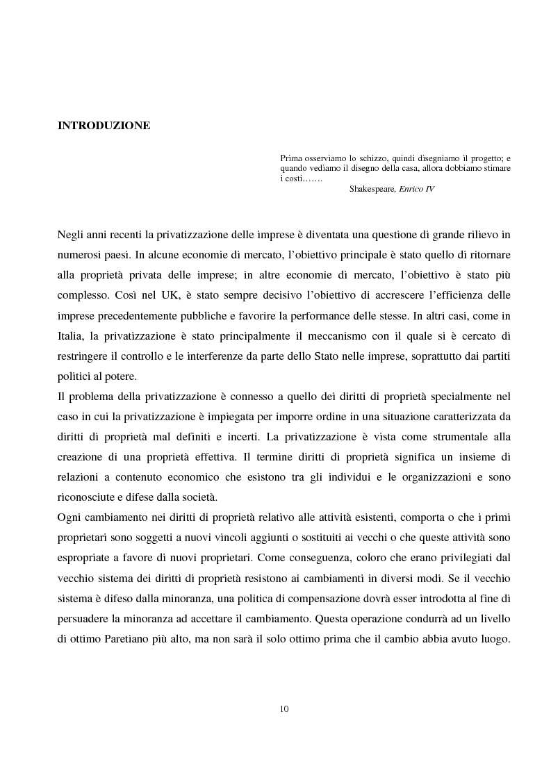 Anteprima della tesi: La privatizzazione nei settori di pubblica utilità. Analisi economica e il caso Italia, Pagina 1
