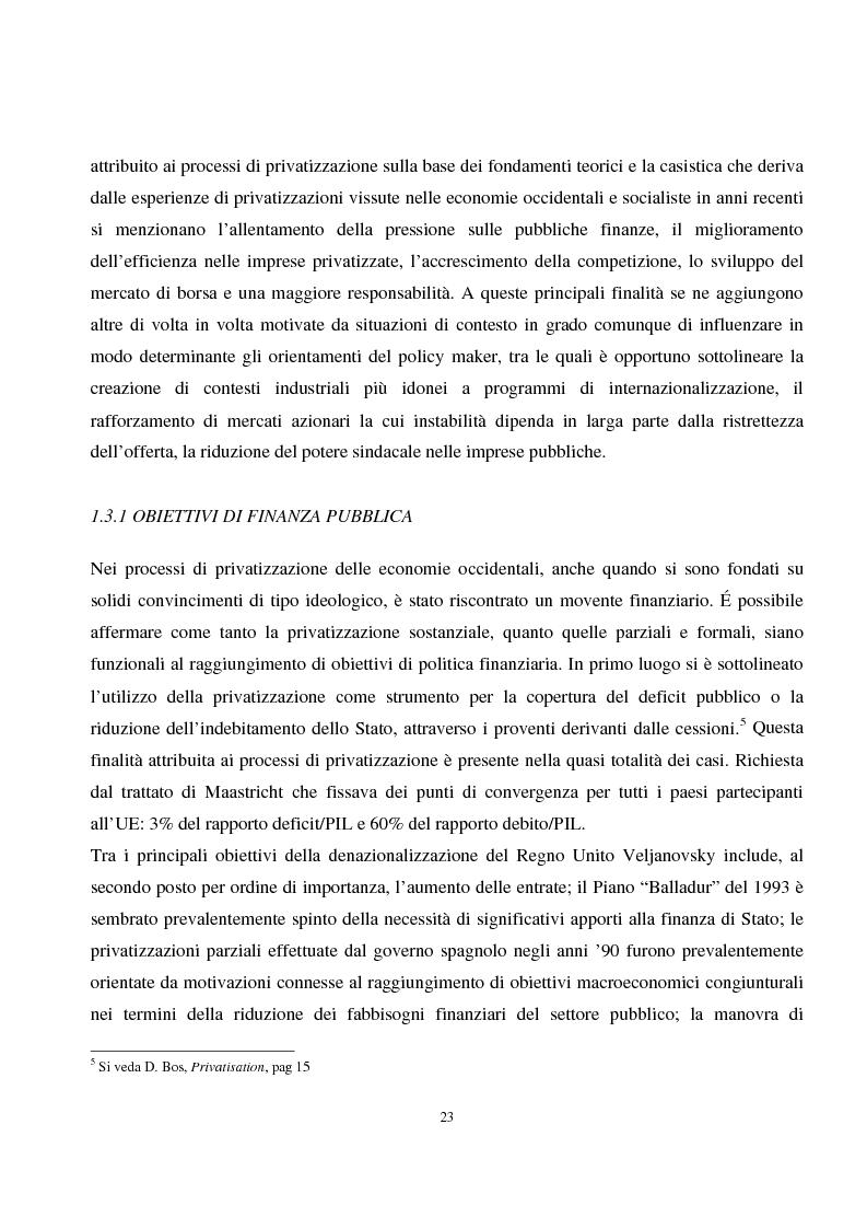 Anteprima della tesi: La privatizzazione nei settori di pubblica utilità. Analisi economica e il caso Italia, Pagina 14