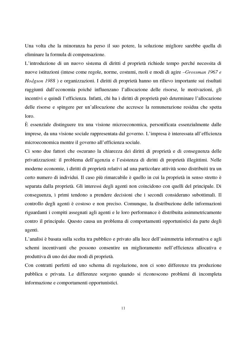Anteprima della tesi: La privatizzazione nei settori di pubblica utilità. Analisi economica e il caso Italia, Pagina 2