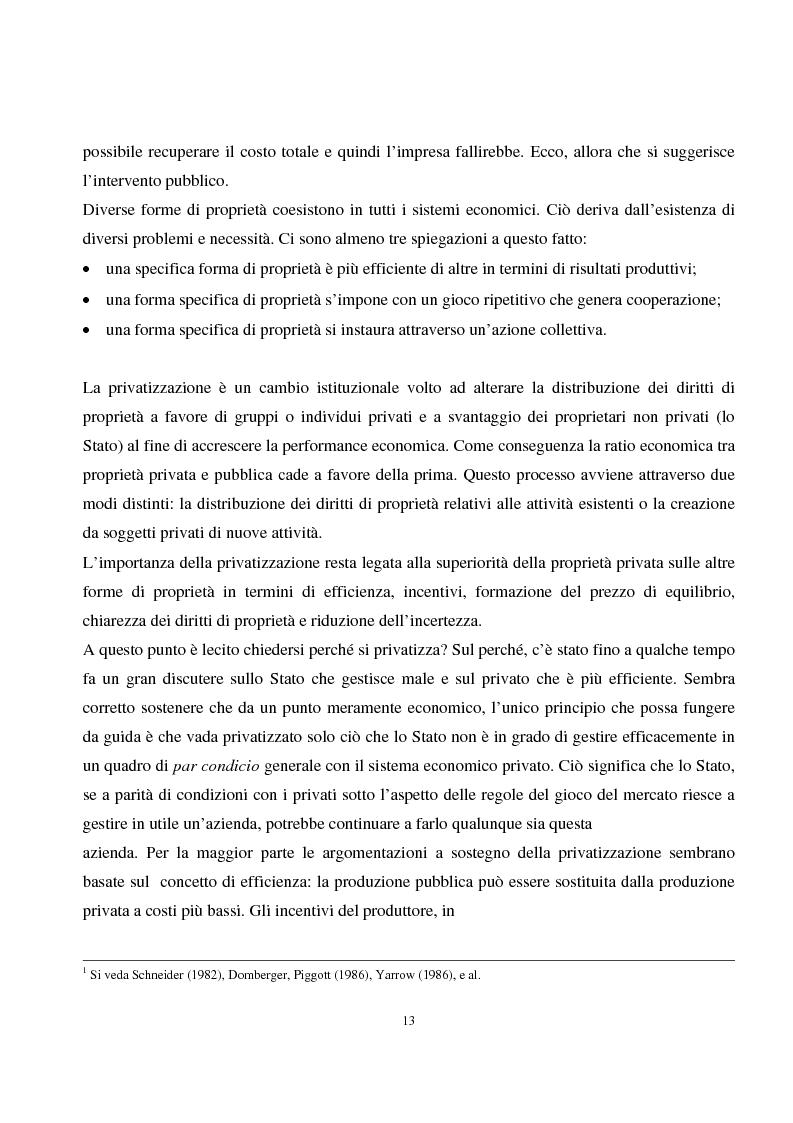 Anteprima della tesi: La privatizzazione nei settori di pubblica utilità. Analisi economica e il caso Italia, Pagina 4