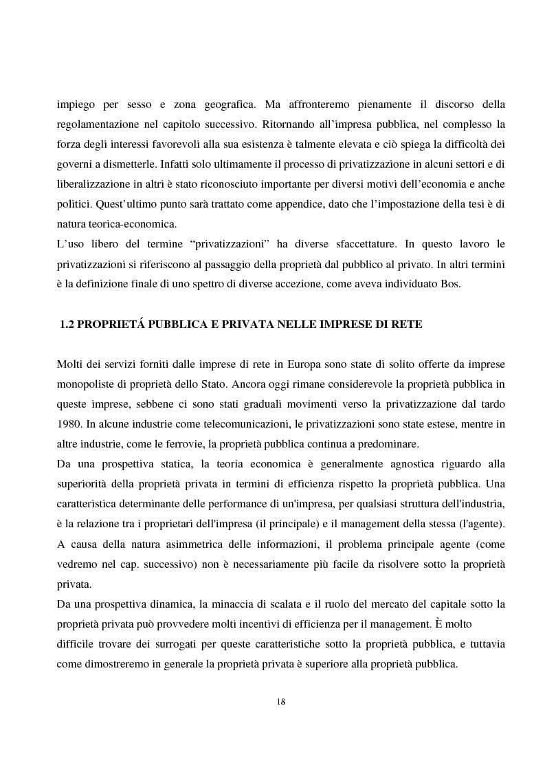 Anteprima della tesi: La privatizzazione nei settori di pubblica utilità. Analisi economica e il caso Italia, Pagina 9