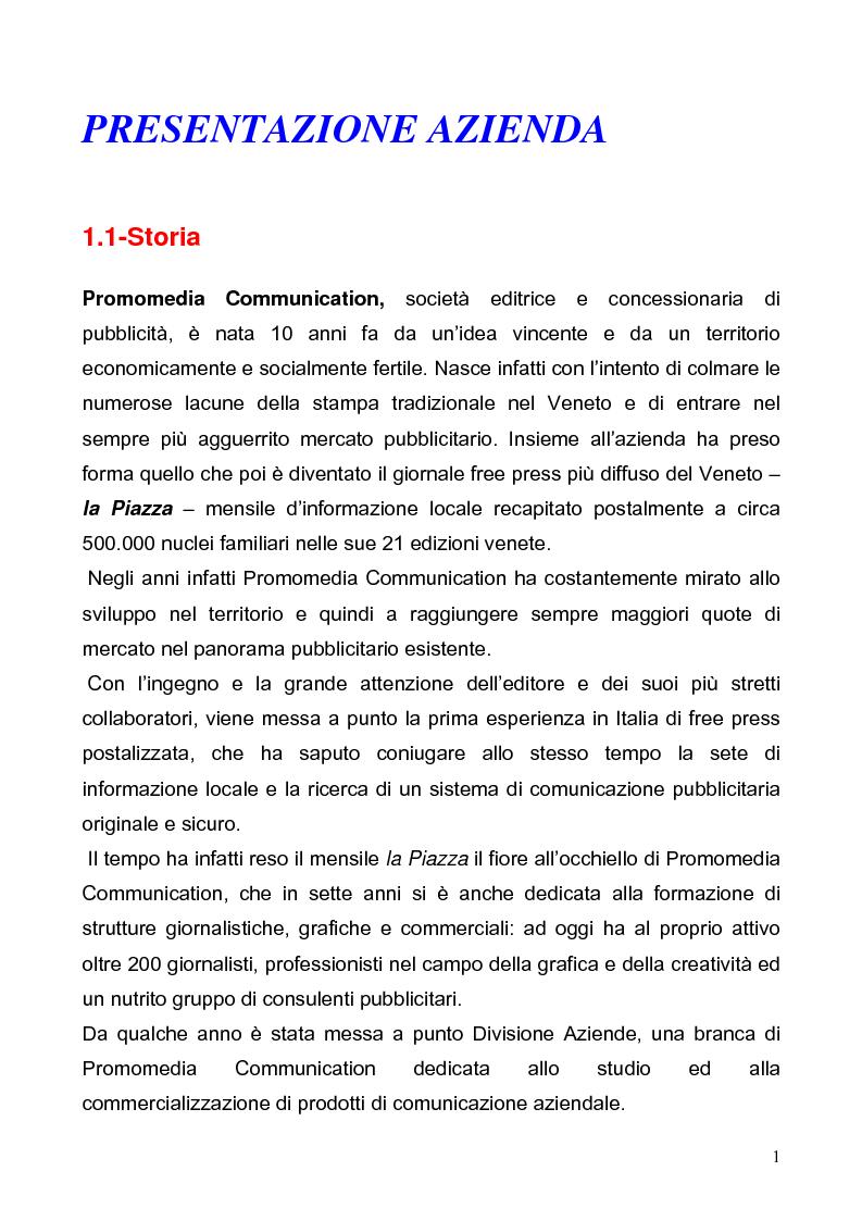 Anteprima della tesi: Customer satisfaction. Il caso aziendale: Promomedia Communication, Pagina 1