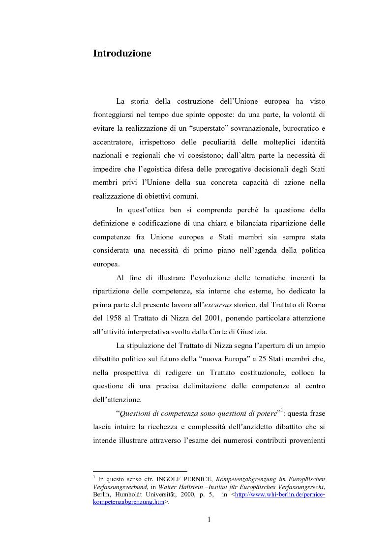 Anteprima della tesi: La ripartizione delle competenze tra l'Unione europea e gli stati membri nella futura Costituzione dell'Europa, Pagina 1