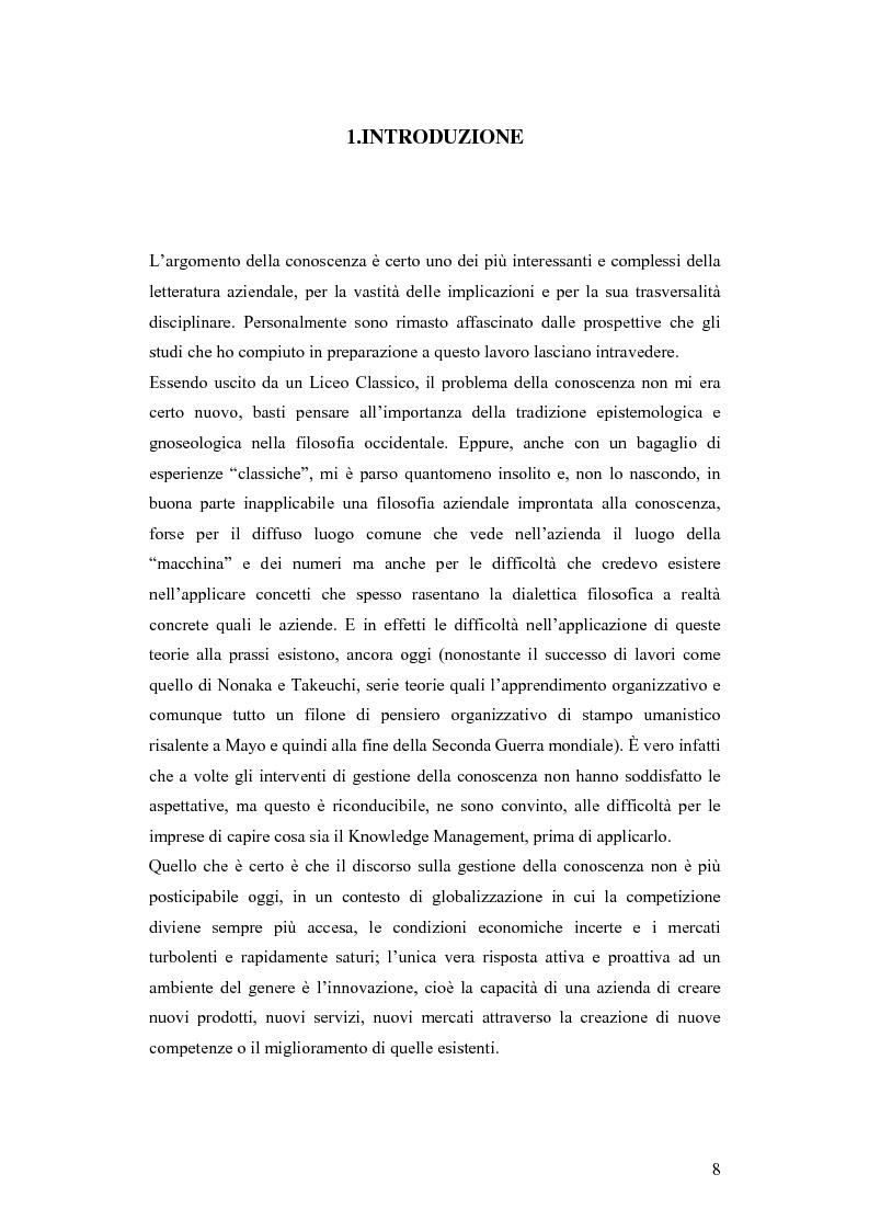 Anteprima della tesi: Una nuova via all'innovazione: creare e gestire la conoscenza grazie al knowledge management, Pagina 1