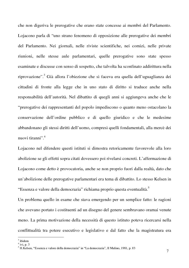 Anteprima della tesi: L'insindacabilità dei membri delle Camere, Pagina 4