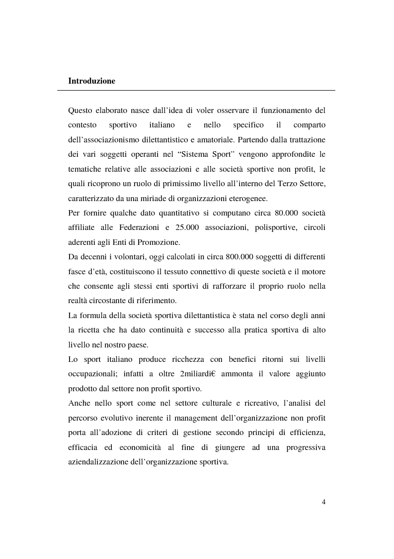 Anteprima della tesi: Misurazione e comunicazione nelle aziende sportive non profit. Il caso Polisportiva Paolo Poggi, Pagina 1