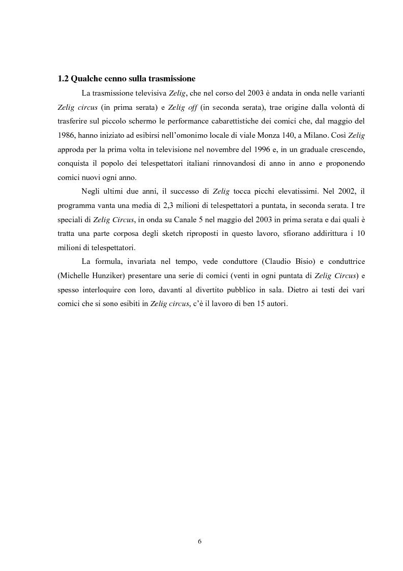 Anteprima della tesi: Dalla parola al riso - Comico verbale e italiano popolare in Zelig, Pagina 2