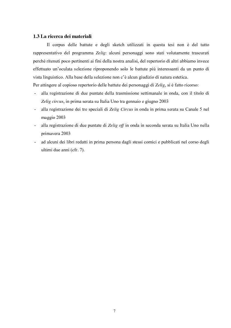 Anteprima della tesi: Dalla parola al riso - Comico verbale e italiano popolare in Zelig, Pagina 3