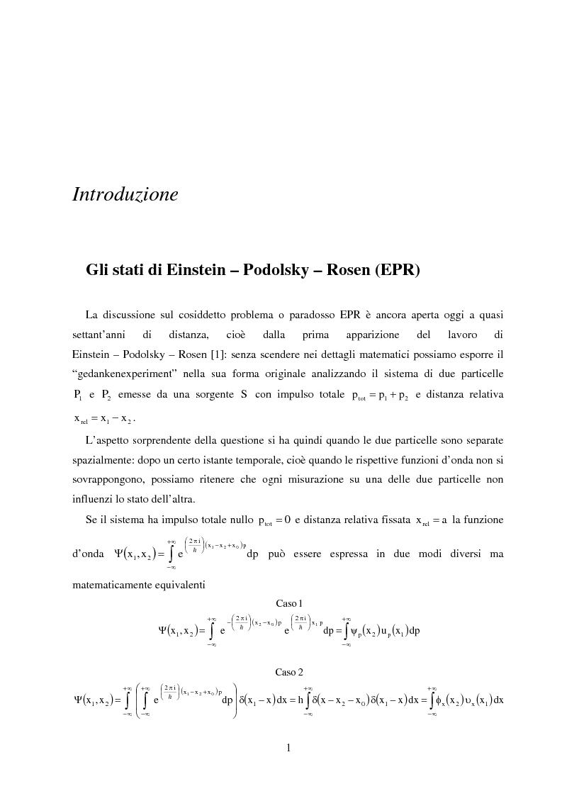 Anteprima della tesi: La dinamica quantistica di due particelle in uno stato entangled rispetto a posizione e momento interagenti con una barriera di potenziale, Pagina 1