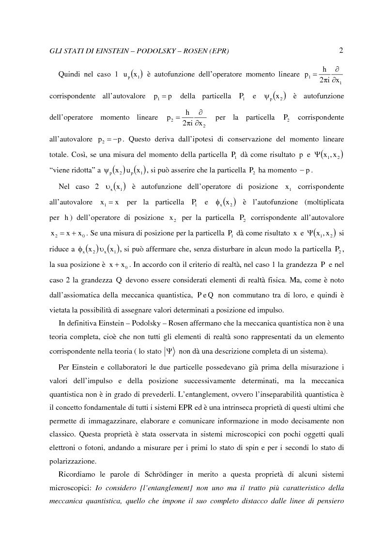 Anteprima della tesi: La dinamica quantistica di due particelle in uno stato entangled rispetto a posizione e momento interagenti con una barriera di potenziale, Pagina 2