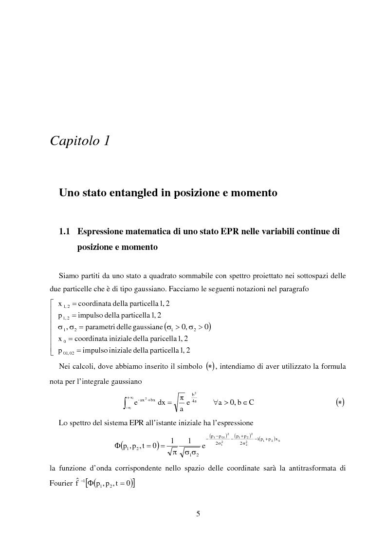 Anteprima della tesi: La dinamica quantistica di due particelle in uno stato entangled rispetto a posizione e momento interagenti con una barriera di potenziale, Pagina 5