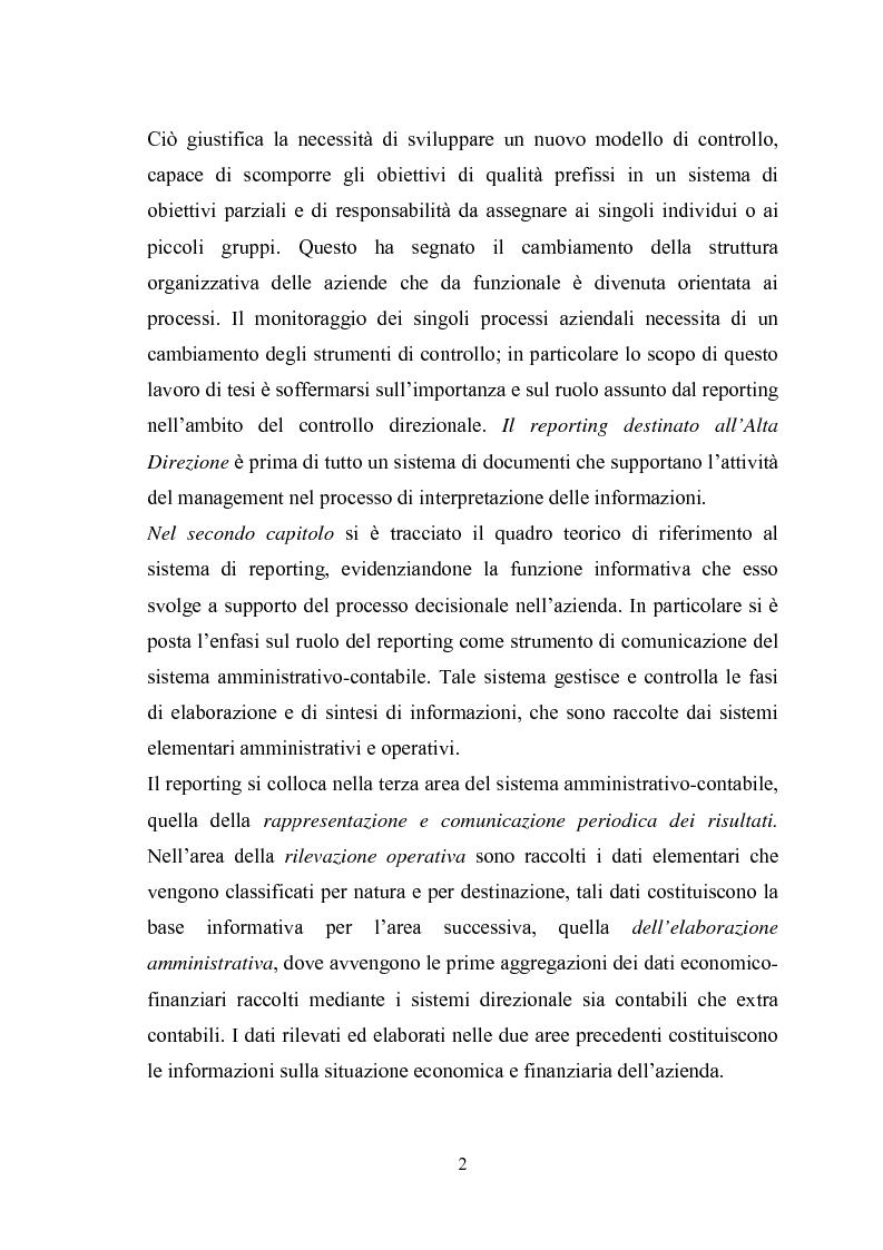 Anteprima della tesi: Il sistema di reporting: il caso Despar Calabria, Pagina 2