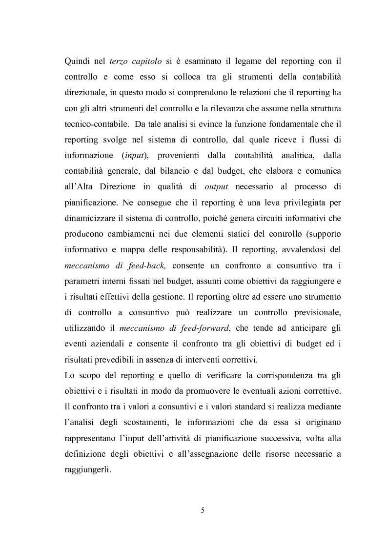 Anteprima della tesi: Il sistema di reporting: il caso Despar Calabria, Pagina 5