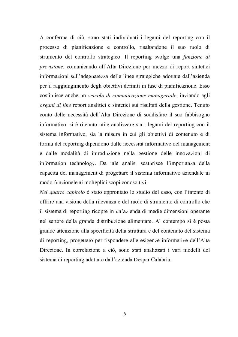 Anteprima della tesi: Il sistema di reporting: il caso Despar Calabria, Pagina 6