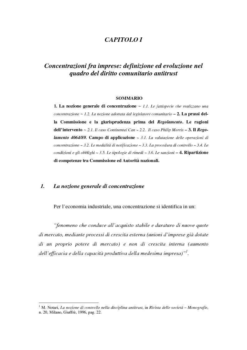 Anteprima della tesi: Evoluzione recente e prospettive di riforma della disciplina comunitaria delle concentrazioni orizzontali, Pagina 1