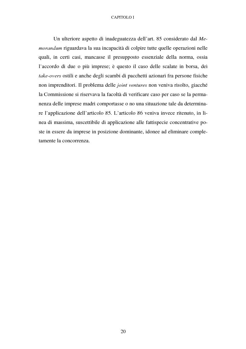 Anteprima della tesi: Evoluzione recente e prospettive di riforma della disciplina comunitaria delle concentrazioni orizzontali, Pagina 14