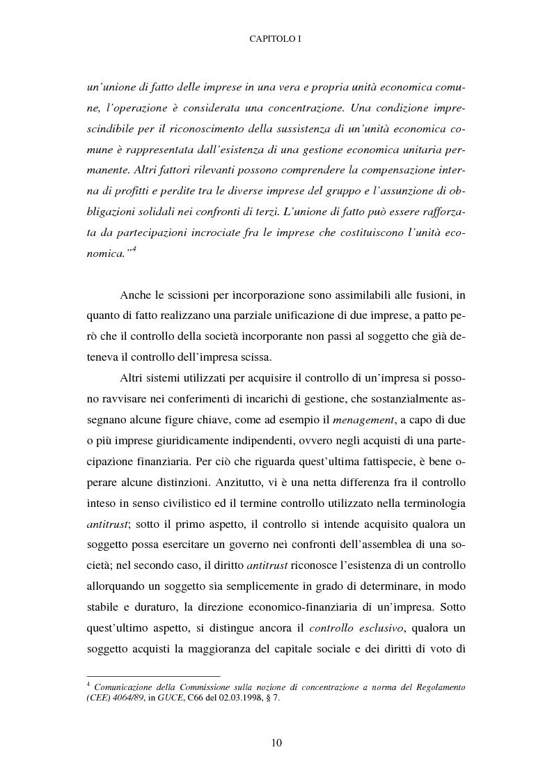 Anteprima della tesi: Evoluzione recente e prospettive di riforma della disciplina comunitaria delle concentrazioni orizzontali, Pagina 4