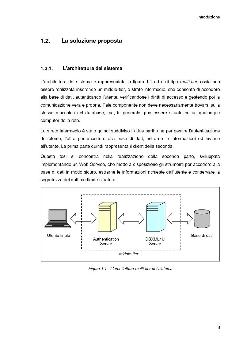 Anteprima della tesi: Ambiente integrato per l'accesso sicuro a basi di dati con tecnologie Java e XML, Pagina 3