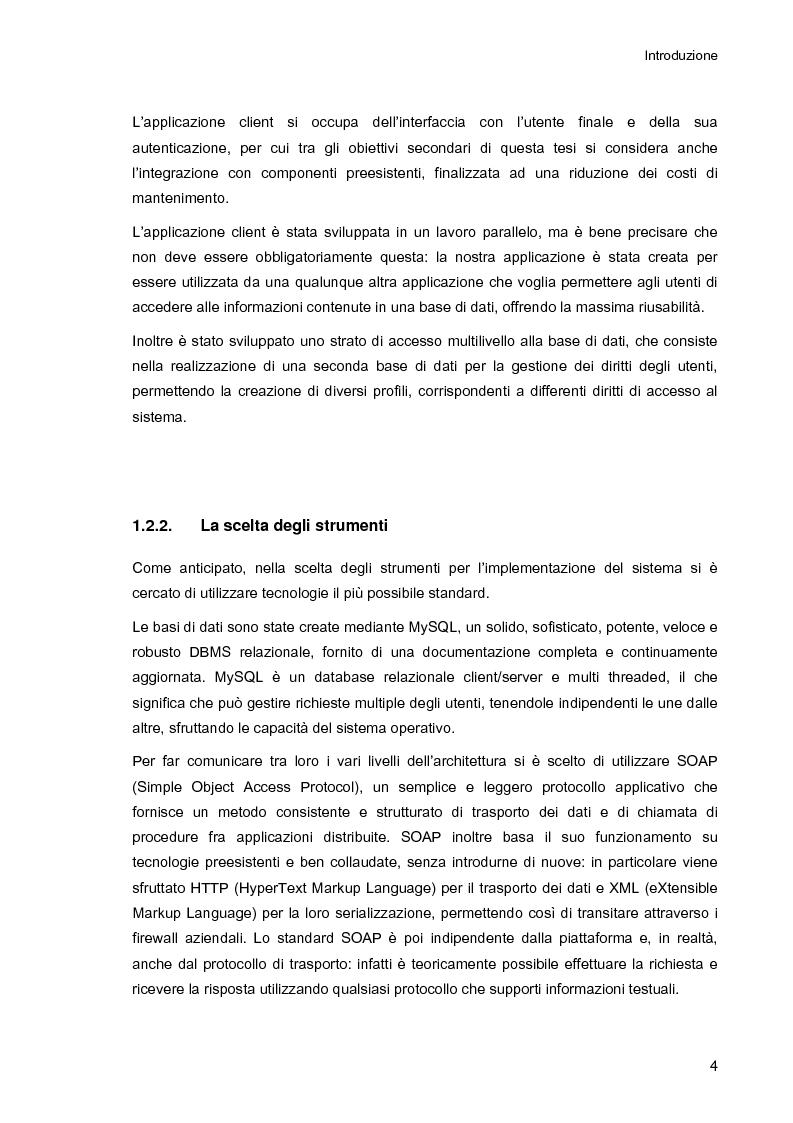 Anteprima della tesi: Ambiente integrato per l'accesso sicuro a basi di dati con tecnologie Java e XML, Pagina 4