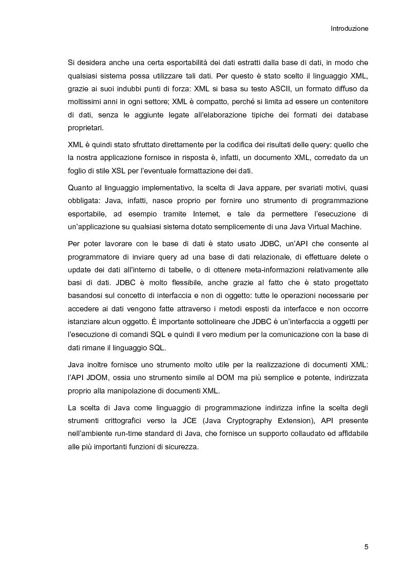Anteprima della tesi: Ambiente integrato per l'accesso sicuro a basi di dati con tecnologie Java e XML, Pagina 5