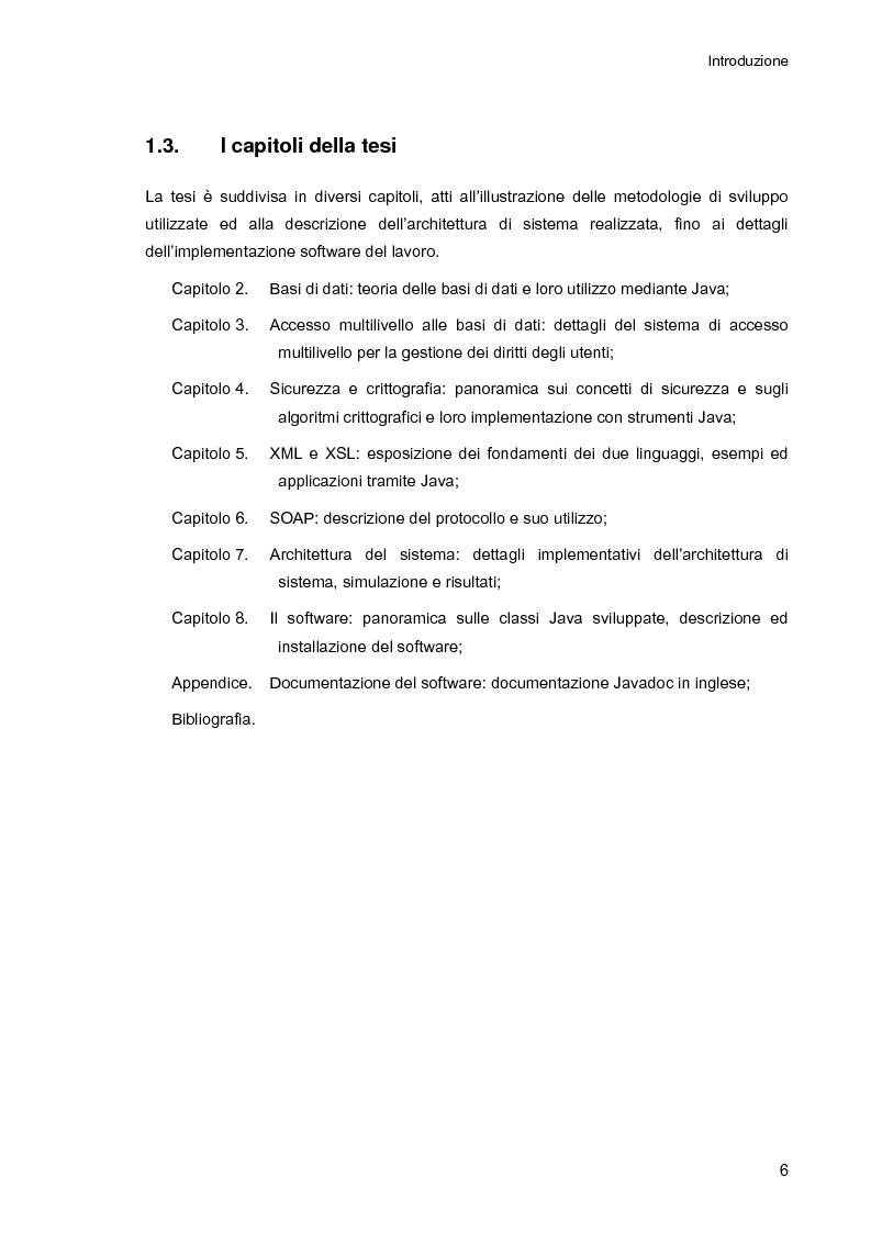 Anteprima della tesi: Ambiente integrato per l'accesso sicuro a basi di dati con tecnologie Java e XML, Pagina 6