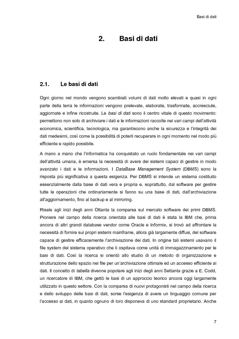 Anteprima della tesi: Ambiente integrato per l'accesso sicuro a basi di dati con tecnologie Java e XML, Pagina 7