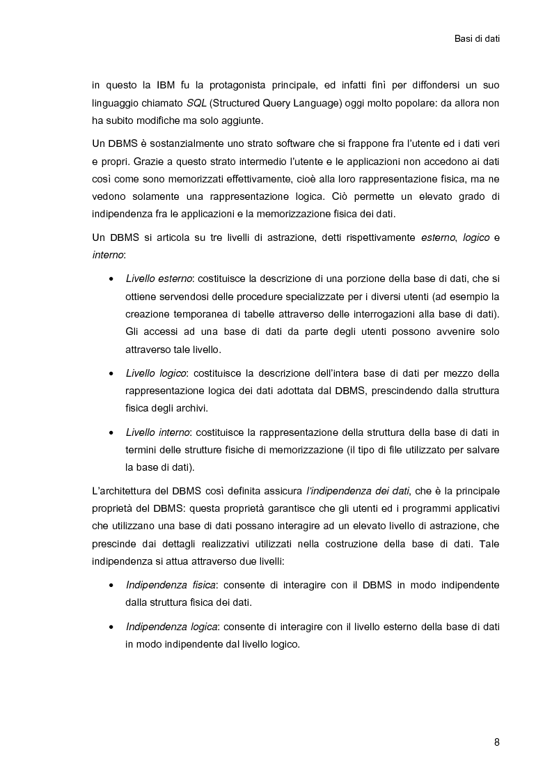 Anteprima della tesi: Ambiente integrato per l'accesso sicuro a basi di dati con tecnologie Java e XML, Pagina 8