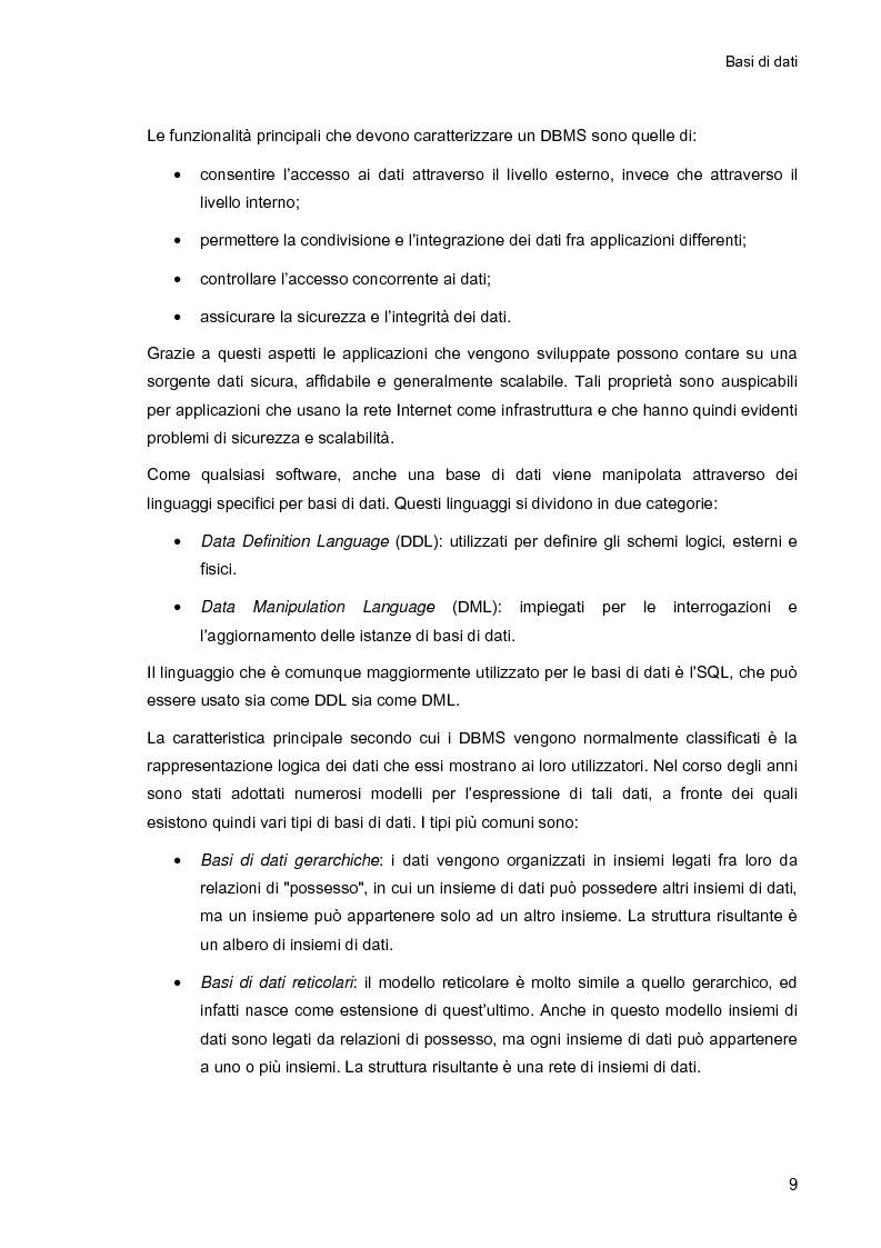 Anteprima della tesi: Ambiente integrato per l'accesso sicuro a basi di dati con tecnologie Java e XML, Pagina 9