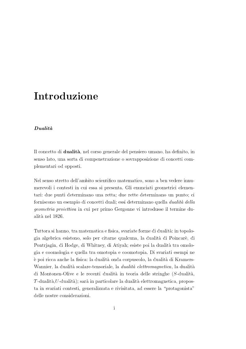 Anteprima della tesi: Dualità elettromagnetica e condizione di quantizzazione di Dirac della carica su quadri-varietà, Pagina 1