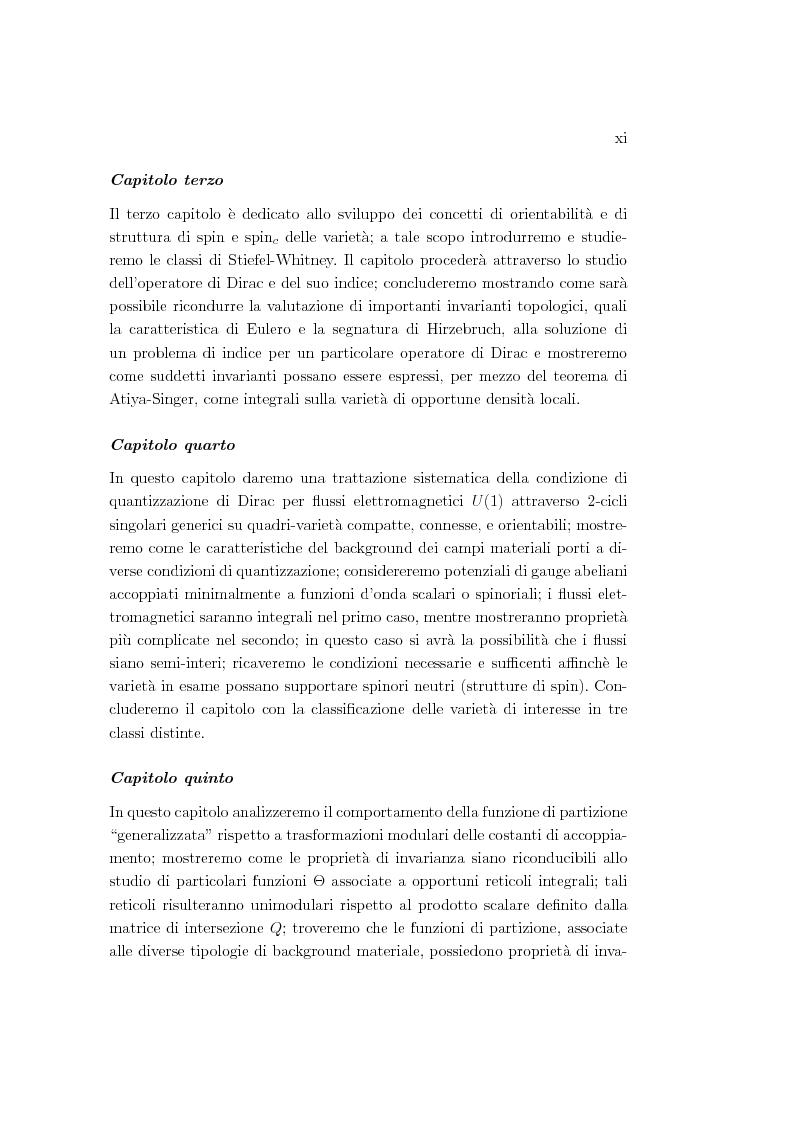 Anteprima della tesi: Dualità elettromagnetica e condizione di quantizzazione di Dirac della carica su quadri-varietà, Pagina 11