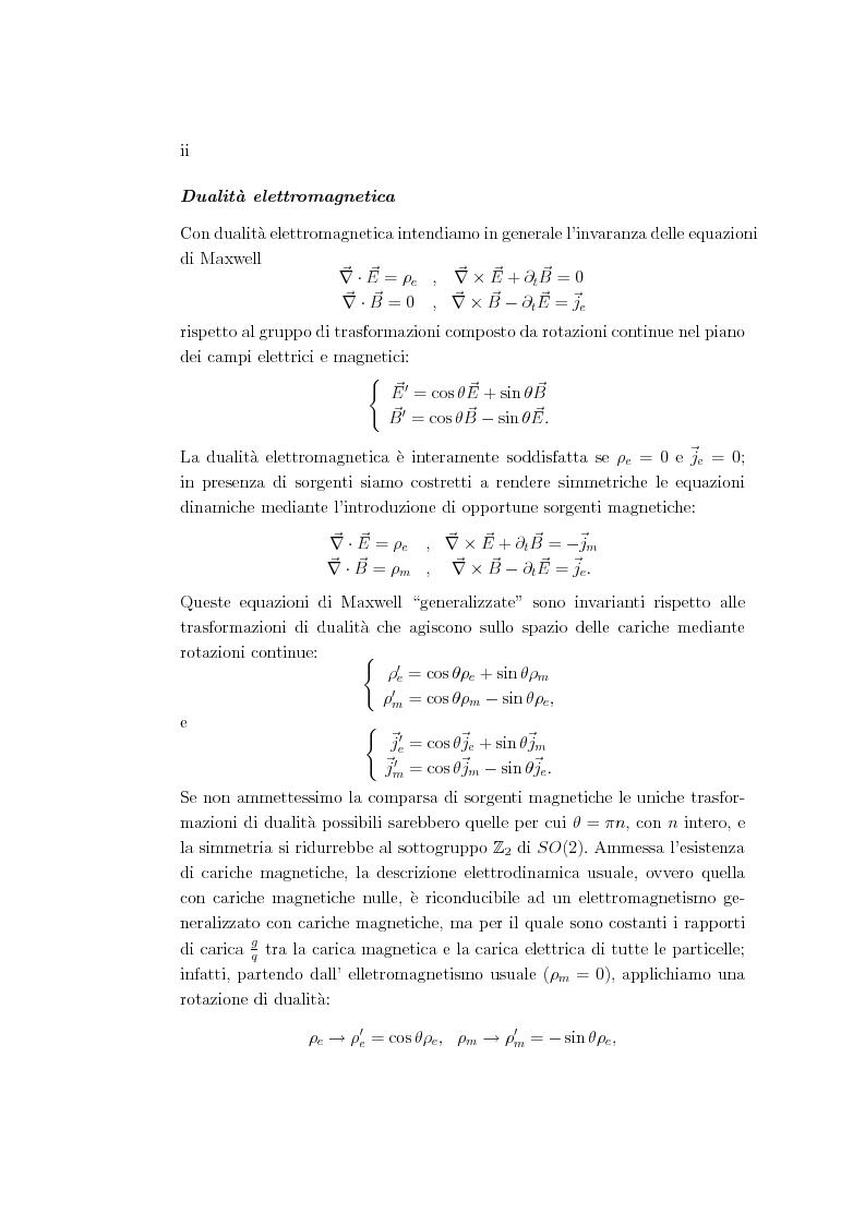 Anteprima della tesi: Dualità elettromagnetica e condizione di quantizzazione di Dirac della carica su quadri-varietà, Pagina 2