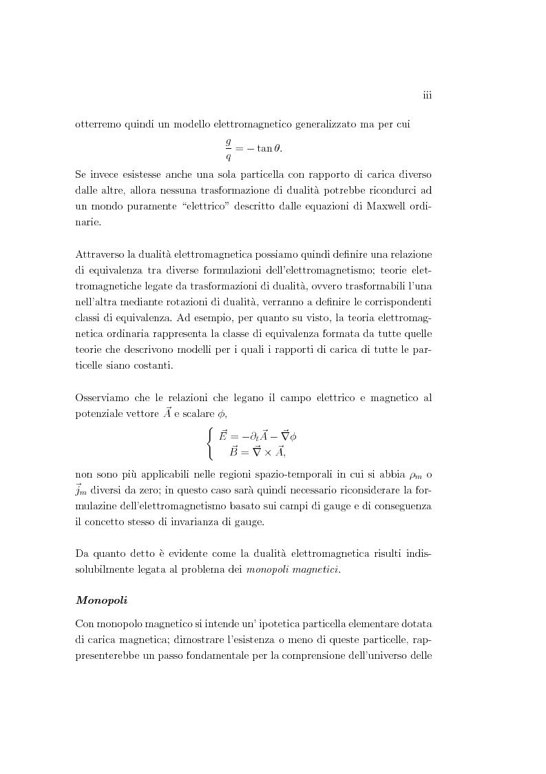Anteprima della tesi: Dualità elettromagnetica e condizione di quantizzazione di Dirac della carica su quadri-varietà, Pagina 3