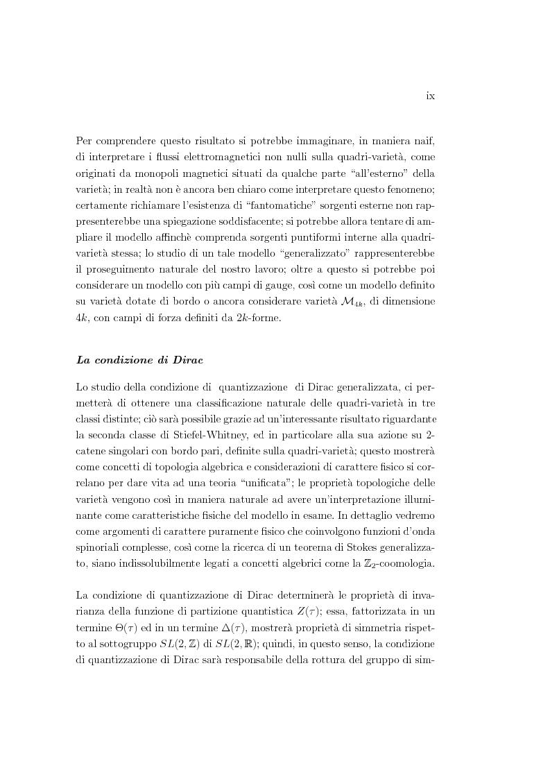 Anteprima della tesi: Dualità elettromagnetica e condizione di quantizzazione di Dirac della carica su quadri-varietà, Pagina 9