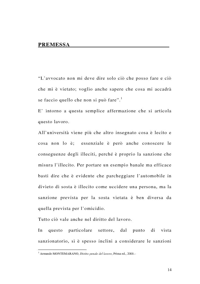 Anteprima della tesi: Le sanzioni penali ed amministrative nel diritto del lavoro, Pagina 1