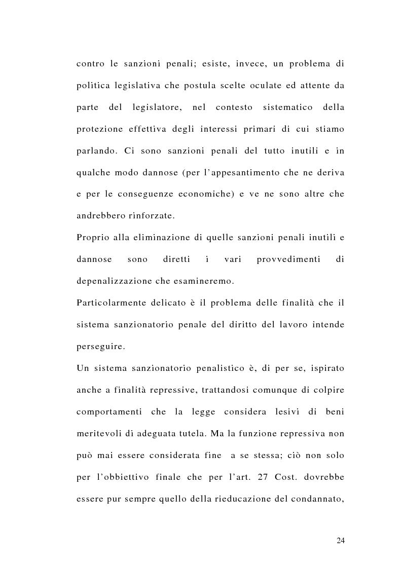 Anteprima della tesi: Le sanzioni penali ed amministrative nel diritto del lavoro, Pagina 11