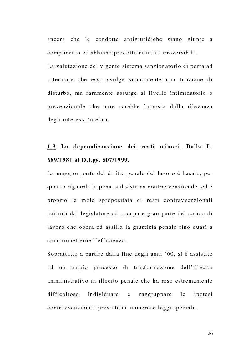 Anteprima della tesi: Le sanzioni penali ed amministrative nel diritto del lavoro, Pagina 13