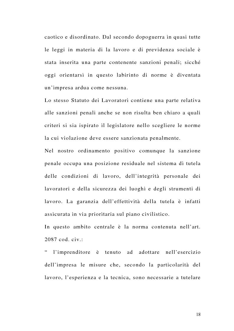 Anteprima della tesi: Le sanzioni penali ed amministrative nel diritto del lavoro, Pagina 5
