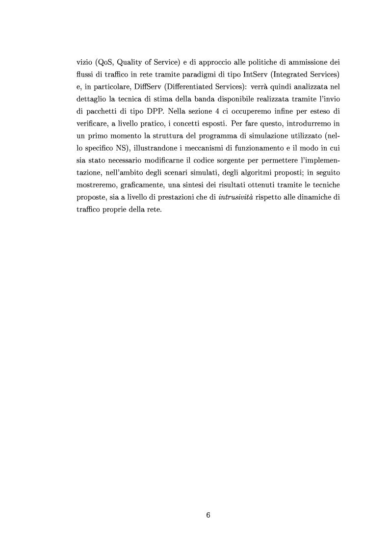 Anteprima della tesi: Tecniche di stima delle risorse di rete per servizi differenziati, Pagina 4