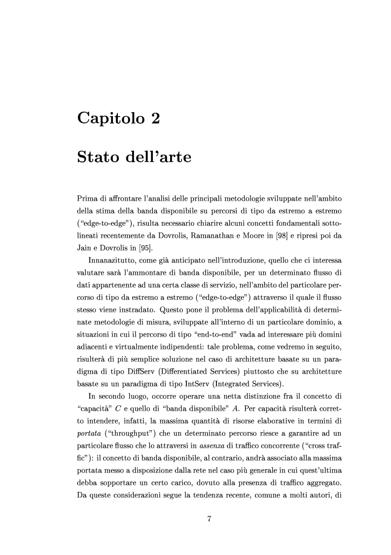 Anteprima della tesi: Tecniche di stima delle risorse di rete per servizi differenziati, Pagina 5