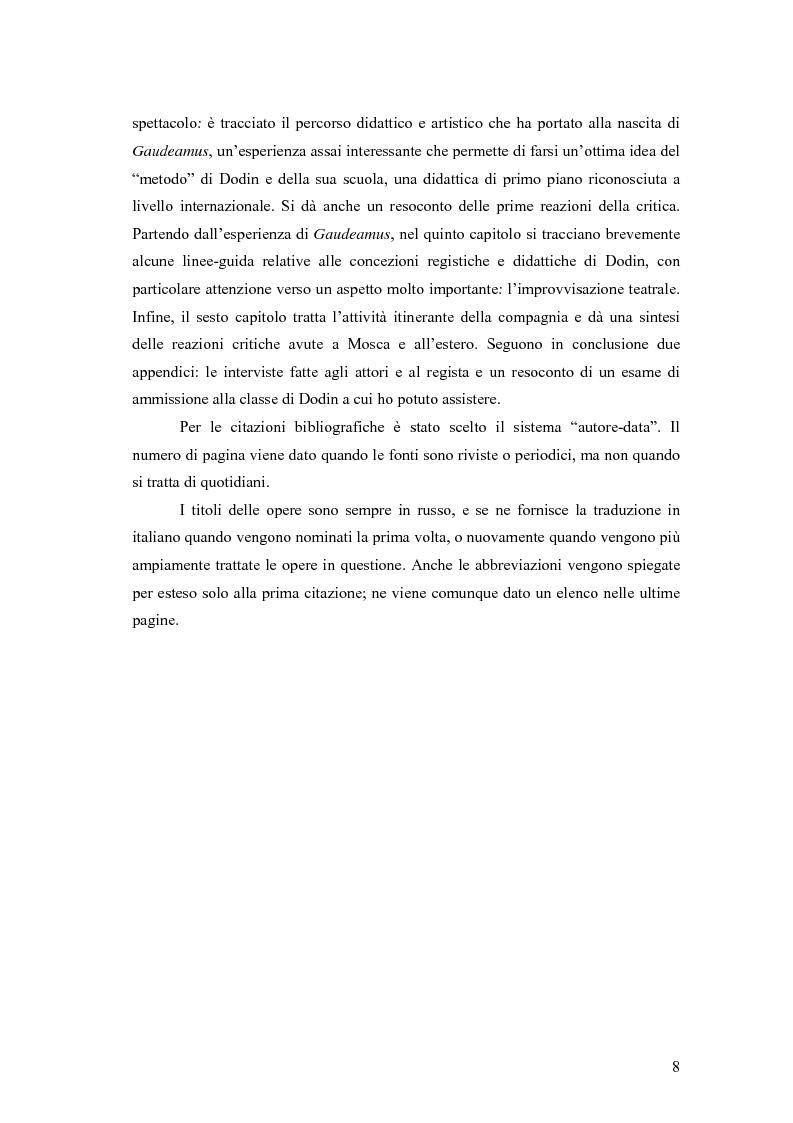Anteprima della tesi: Il Malyj Dramaticeskij Teatr di Pietroburgo, Lev Dodin e ''Gaudeamus'': storia di un'avventura teatrale, Pagina 3
