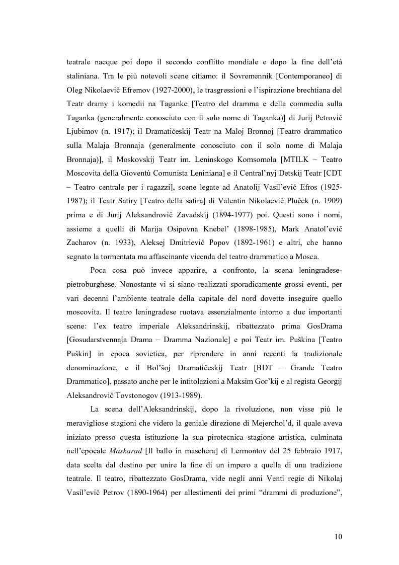 Anteprima della tesi: Il Malyj Dramaticeskij Teatr di Pietroburgo, Lev Dodin e ''Gaudeamus'': storia di un'avventura teatrale, Pagina 5
