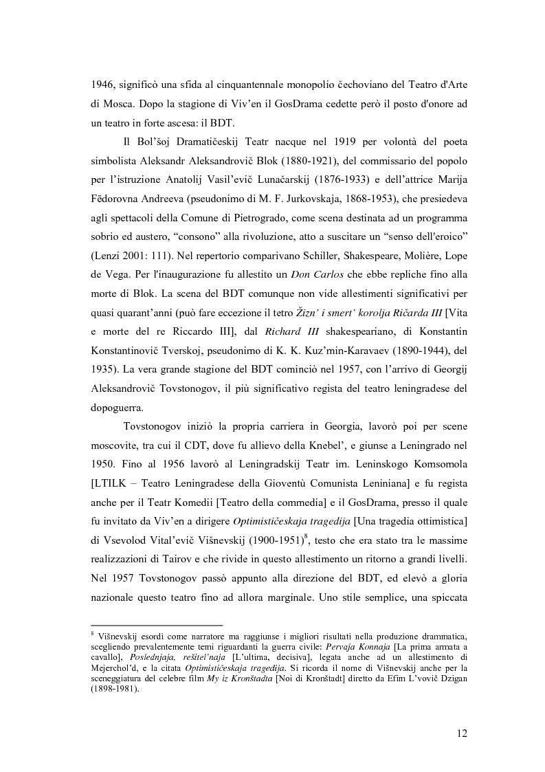 Anteprima della tesi: Il Malyj Dramaticeskij Teatr di Pietroburgo, Lev Dodin e ''Gaudeamus'': storia di un'avventura teatrale, Pagina 7