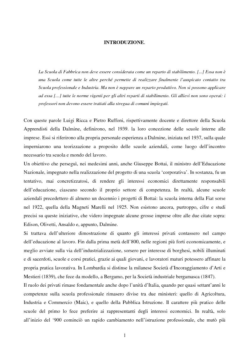 Anteprima della tesi: La Scuola Apprendisti della Dalmine S.A. dal 1937 al 1948, Pagina 1