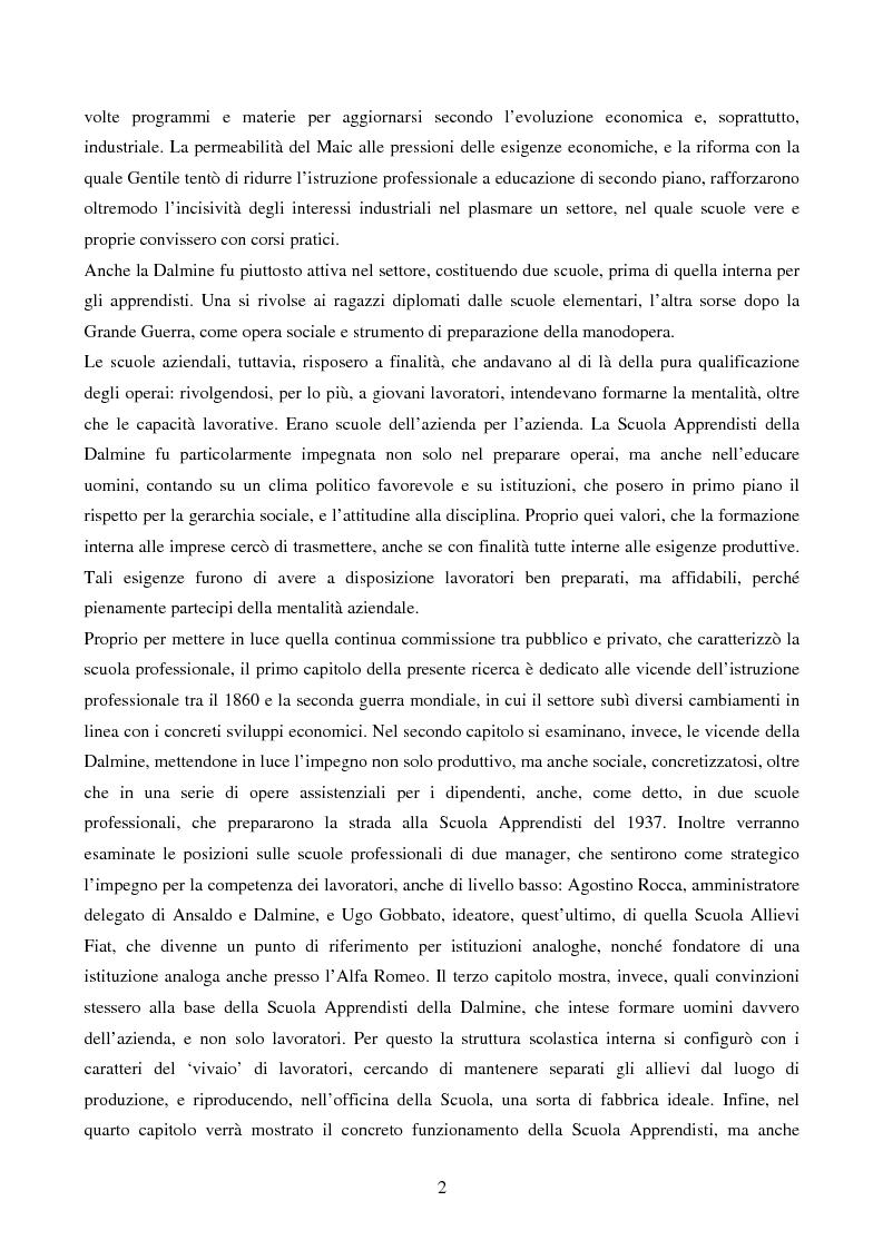 Anteprima della tesi: La Scuola Apprendisti della Dalmine S.A. dal 1937 al 1948, Pagina 2